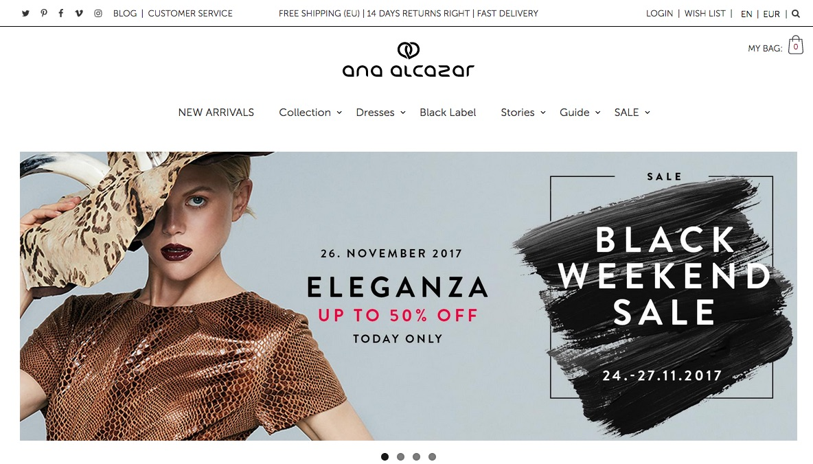 We developed once an iOS app for Ana Alcazar but shortly after started maintaining their entire online shop.