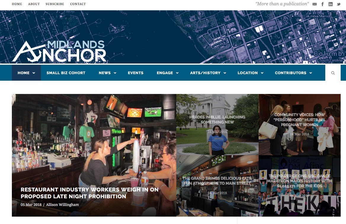 Midlands Anchor is a regional online newspaper for the Columbia and Lexington area in South Carolina.